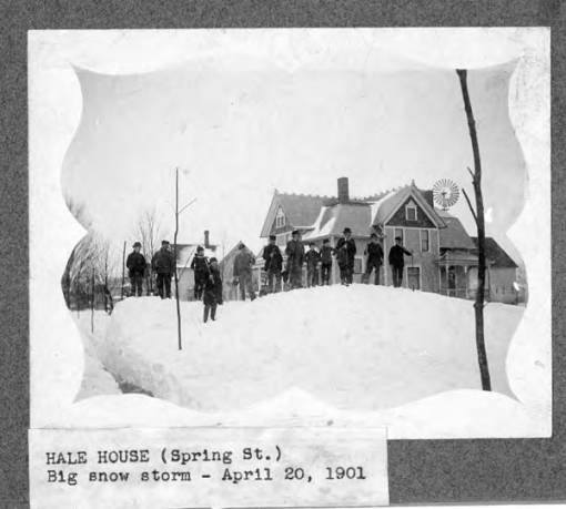 Hale House on Spring Street in Burton, Ohio (Geauga County). Photo dated April 20, 1901. Image obtained from the Cleveland Memory Project at the Libraries of Cleveland State University.